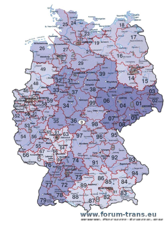 Niemcy Mapy Z Kodami Pocztowymi