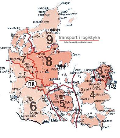 Dania Mapy Z Kodami Pocztowymi
